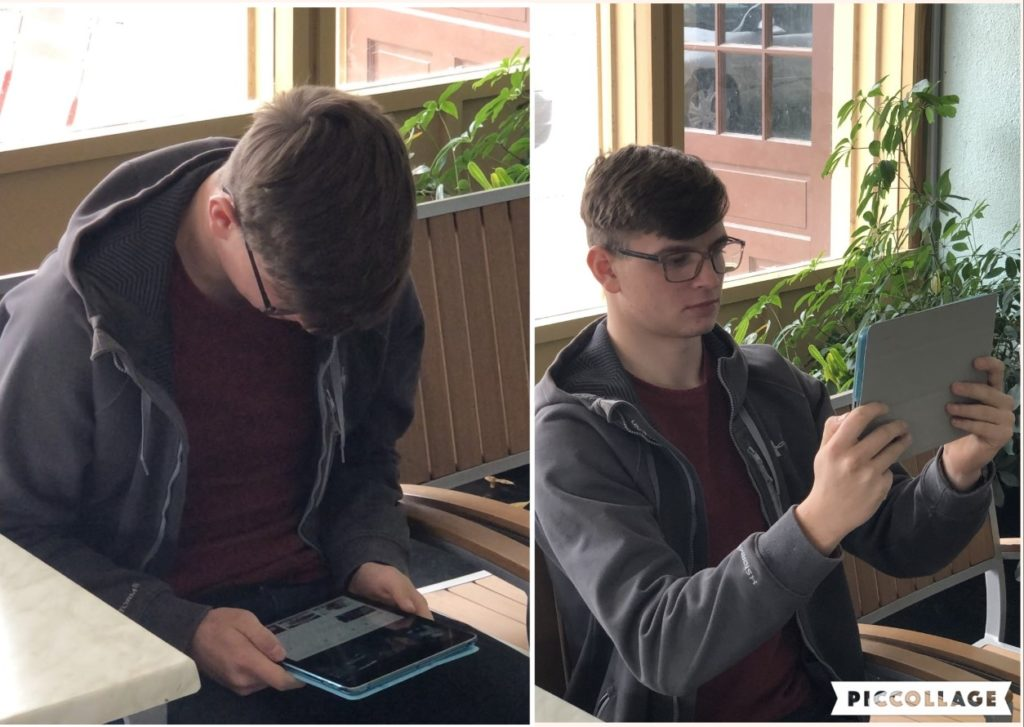 Shows the incorrect way to hold a device and the correct way to hold a device. The incorrect way can cause Text Neck. The correct way is much easier on your neck and helps to avoid Text Neck.