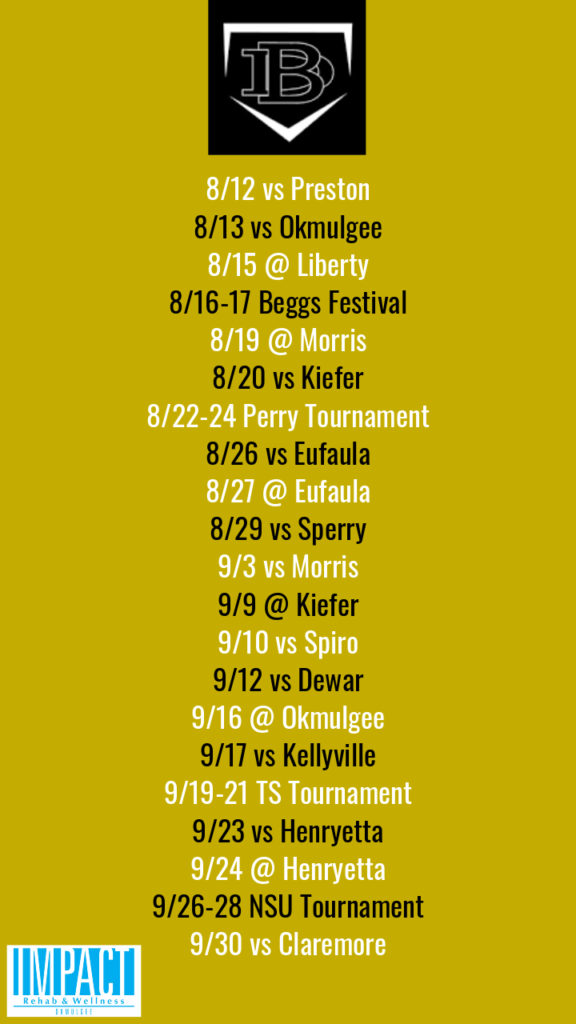 Beggs Lady Demons 2019 fastpitch schedule with gold background
