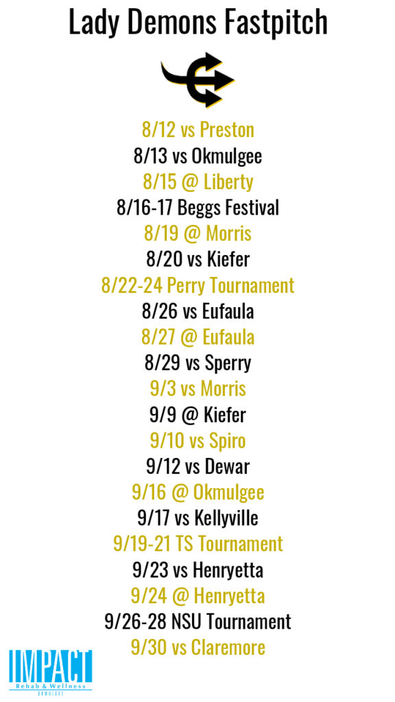 Beggs Lady Demons 2019 fastpitch schedule with white background