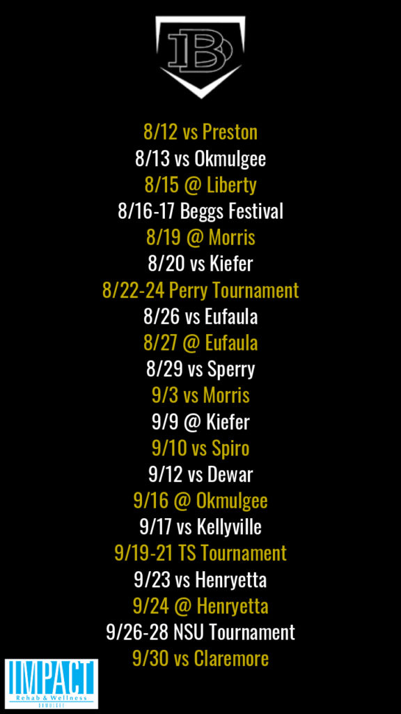 Beggs Lady Demons 2019 fastpitch schedule with black background