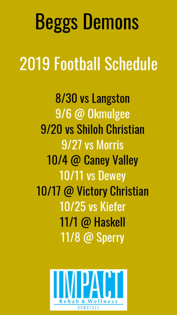 Beggs Demons 2019 football schedule with gold background