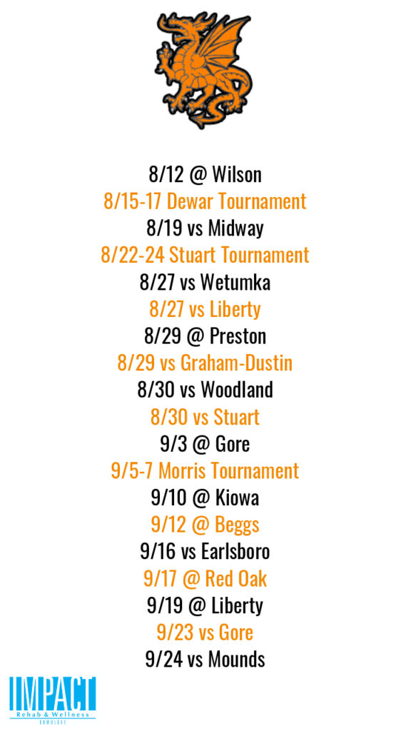 Dewar Dragons 2019 fastpitch schedule with white background