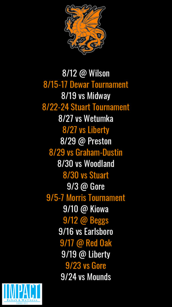 Dewar Dragons 2019 fastpitch schedule with black background