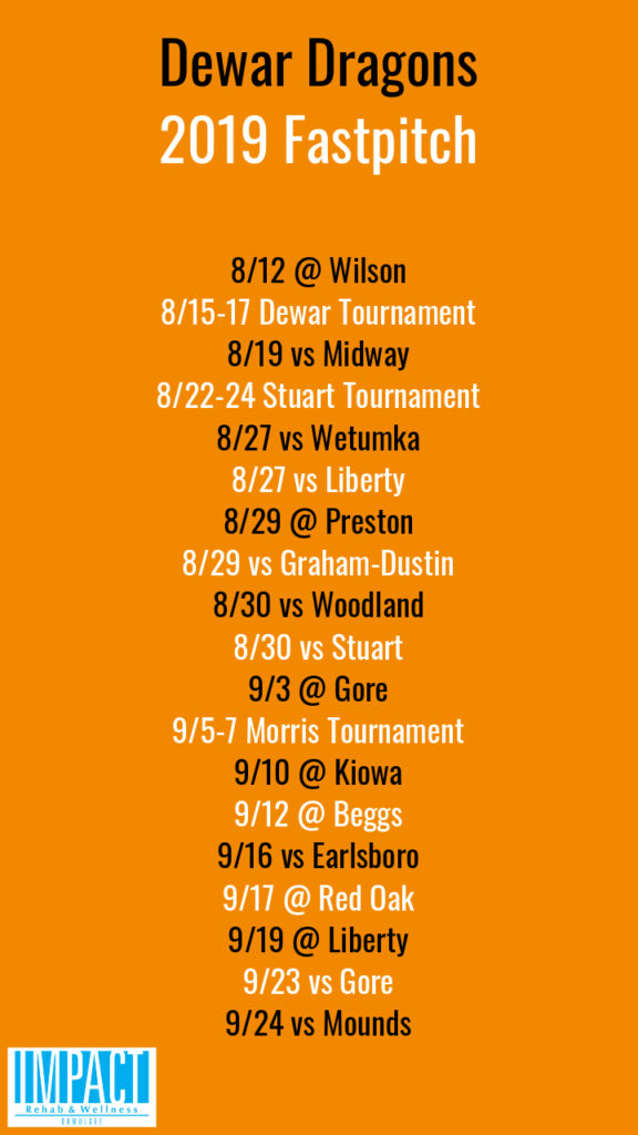 Dewar Dragons 2019 fastpitch schedule with orange background