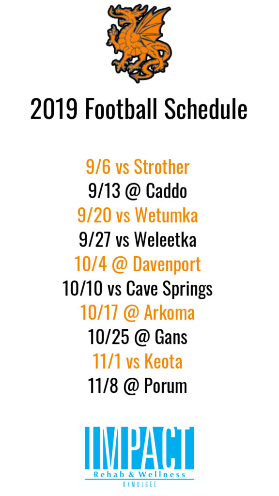 Dewar Dragons 2019 football schedule with white background