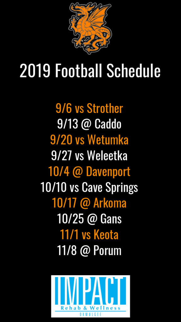 Dewar Dragons 2019 football schedule with black background