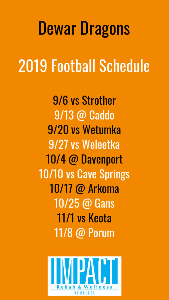 Dewar Dragons 2019 football schedule with orange background