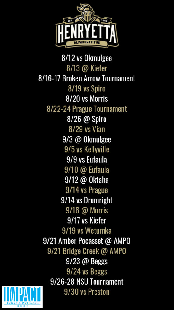 Henryetta Knights 2019 fastpitch schedule with black background