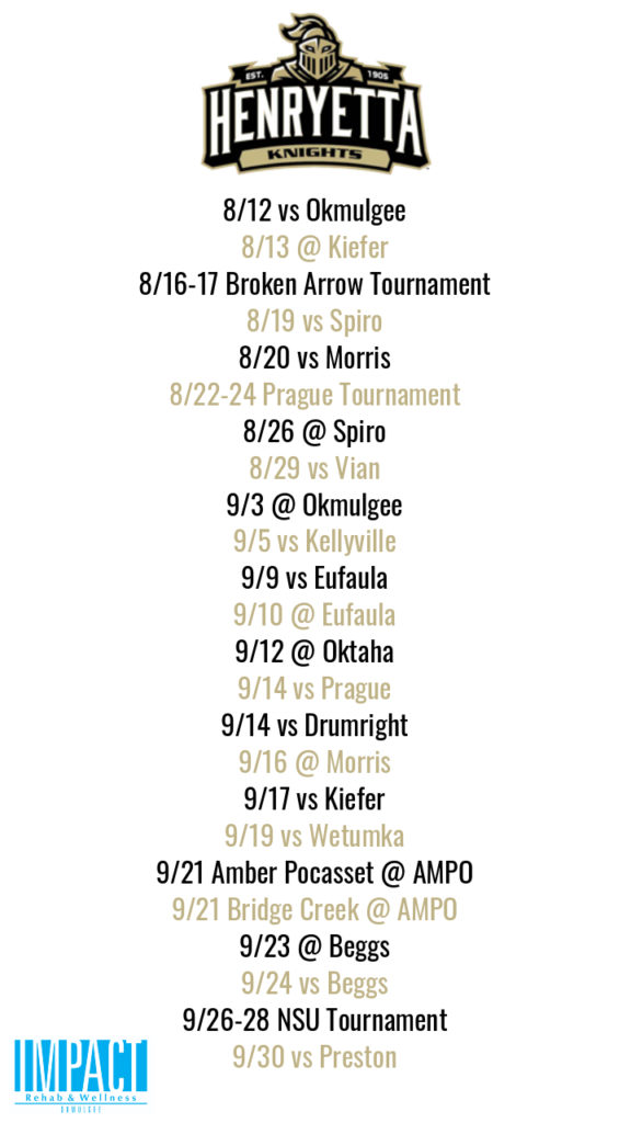 Henryetta Knights 2019 fastpitch schedule with white background