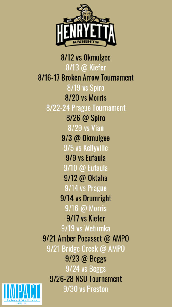 Henryetta Knights 2019 fastpitch schedule with color background