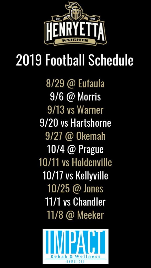 Henryetta Knights 2019 football schedule with black background