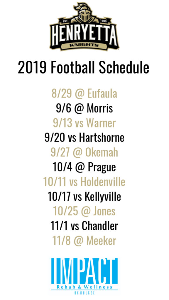 Henryetta Knights 2019 football schedule with white background