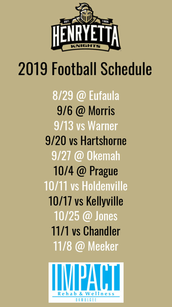 Henryetta Knights 2019 football schedule with color background