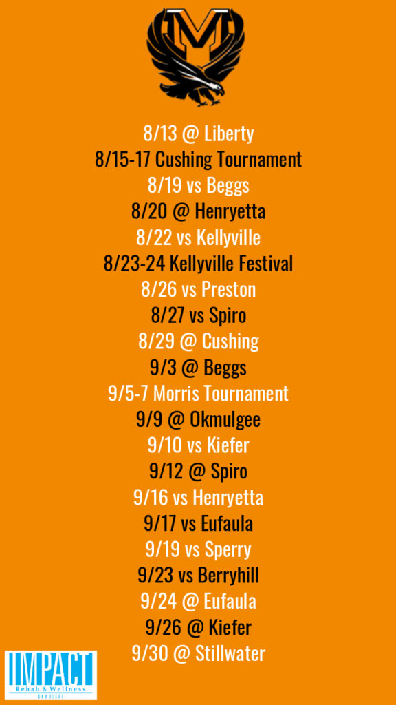 Morris Lady Eagles 2019 fastpitch schedule with orange background