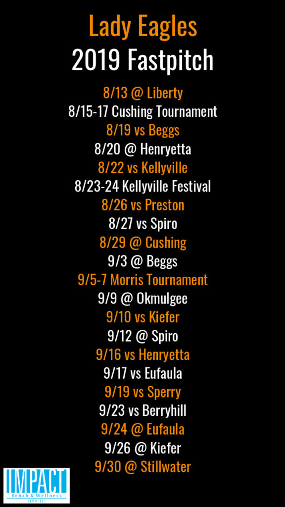 Morris Lady Eagles 2019 fastpitch schedule with black background