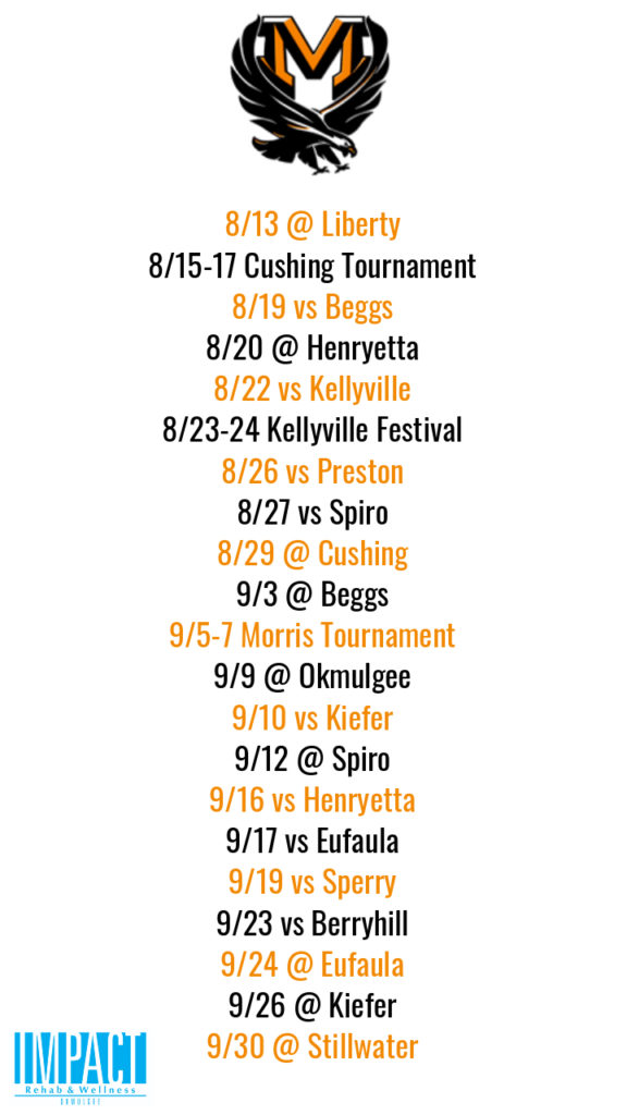 Morris Lady Eagles 2019 fastpitch schedule with white background