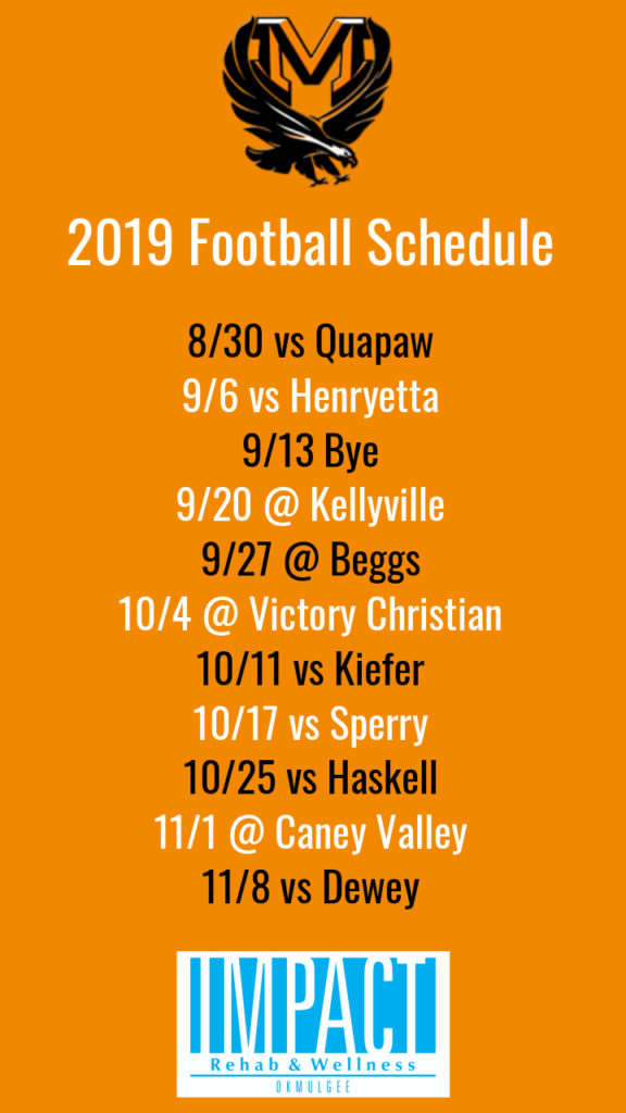 Morris Eagles 2019 football schedule with orange background