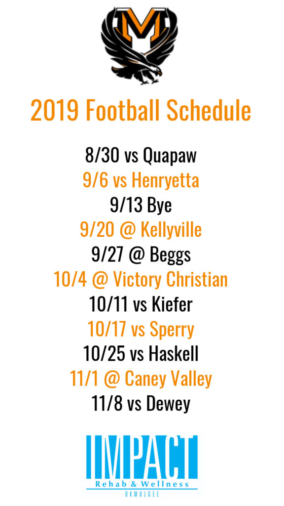 Morris Eagles 2019 football schedule with white background