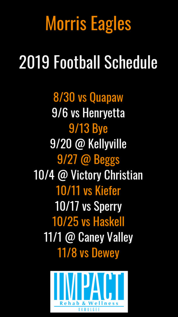 Morris Eagles 2019 football schedule with black background