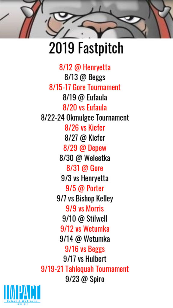Okmulgee Bulldogs 2019 fastpitch schedule with white background