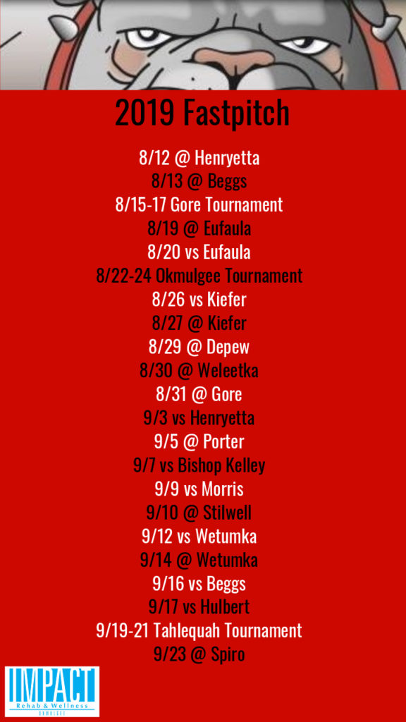 Okmulgee Bulldogs 2019 fastpitch schedule with red background
