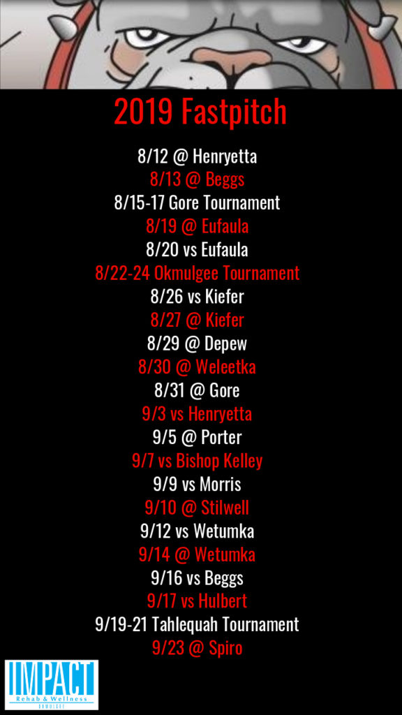 Okmulgee Bulldogs 2019 fastpitch schedule with black background