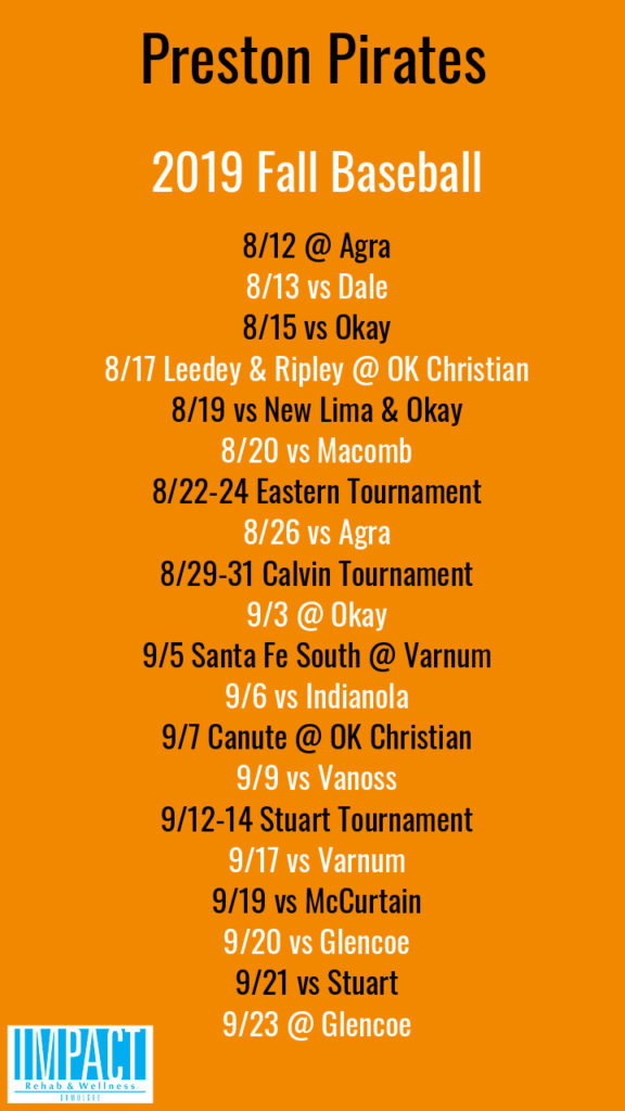 Preston Pirates 2019 fall baseball schedule with orange background