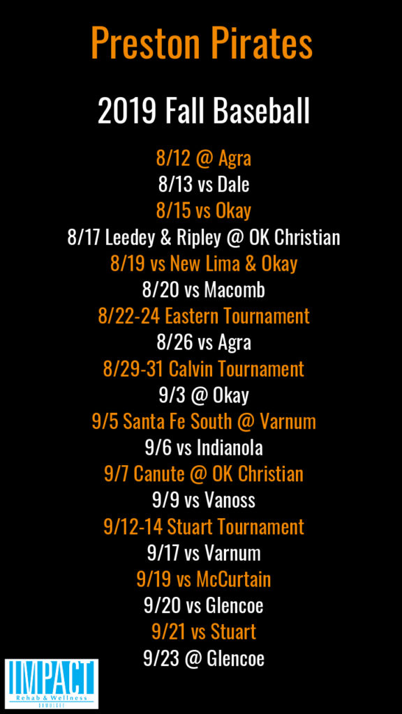 Preston Pirates 2019 fall baseball schedule with black background