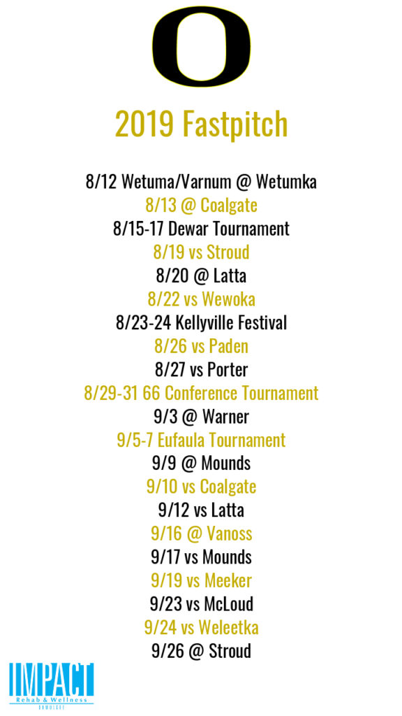 Okemah Lady Panthers 2019 fastpitch schedule with white background