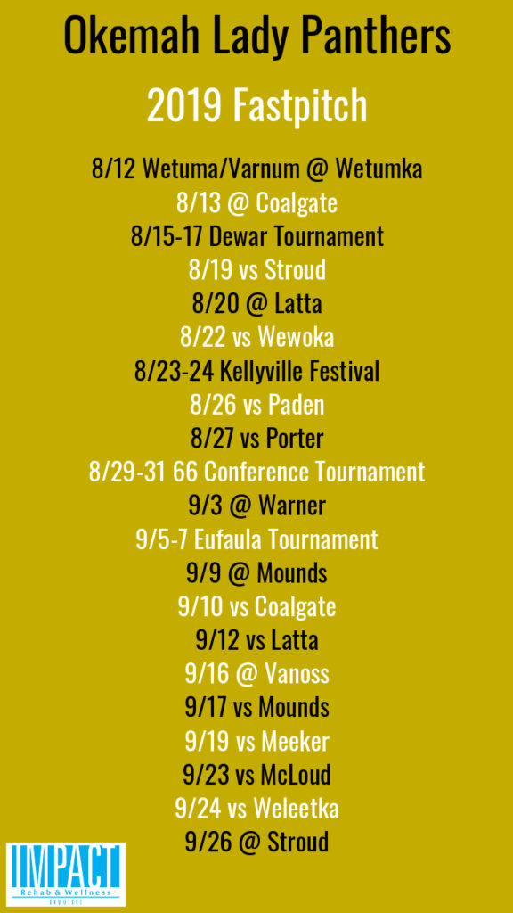 Okemah Lady Panthers 2019 fastpitch schedule with gold background