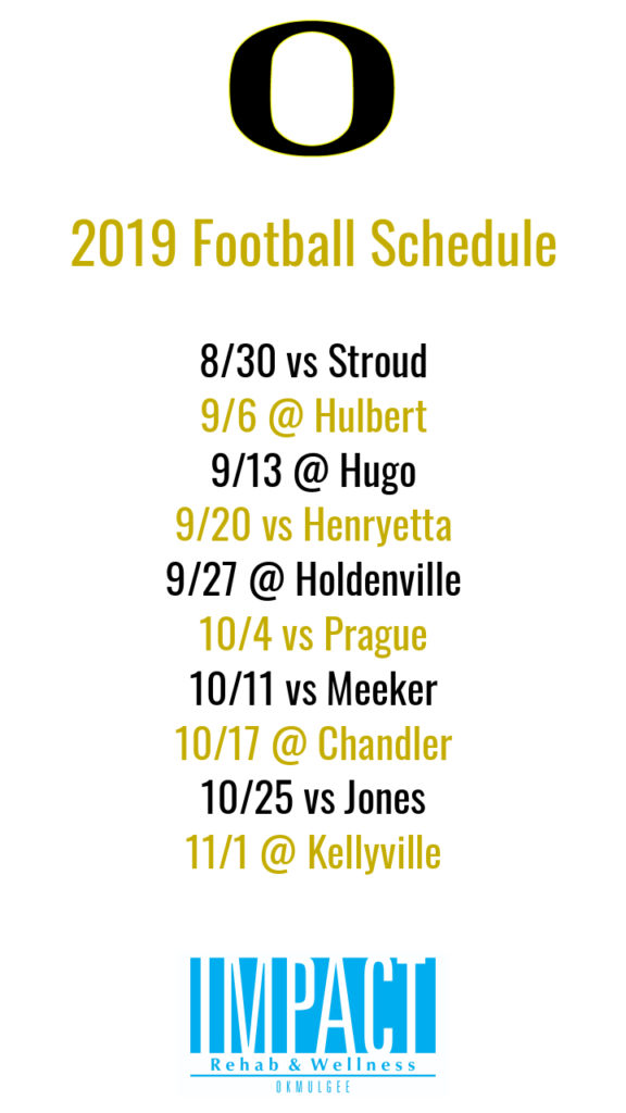 Okemah Panthers 2019 football schedule with white background