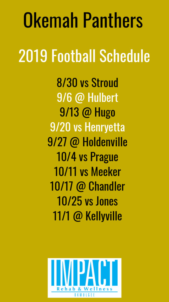 Okemah Panthers 2019 football schedule with gold background