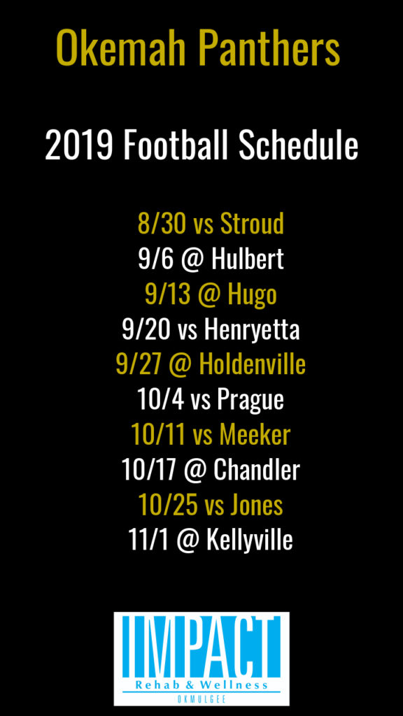Okemah Panthers 2019 football schedule with black background