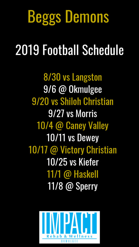 Beggs Demons 2019 football schedule with black background