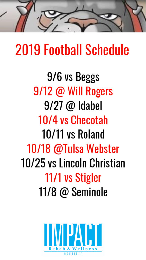 Okmulgee Bulldogs 2019 football schedule with white background