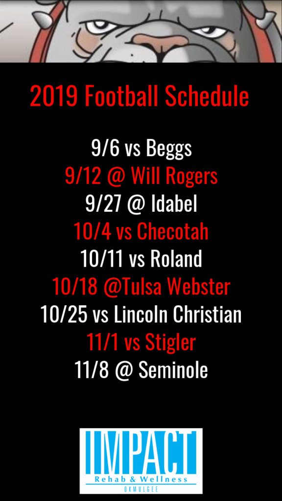 Okmulgee Bulldogs 2019 football schedule with black background