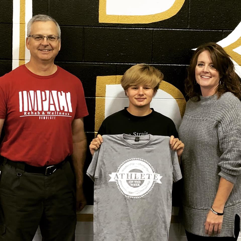 Picture of Impact Athlete of the Week winner, Elizabeth Headley, with Michael Siegenthaler and her high school principal.