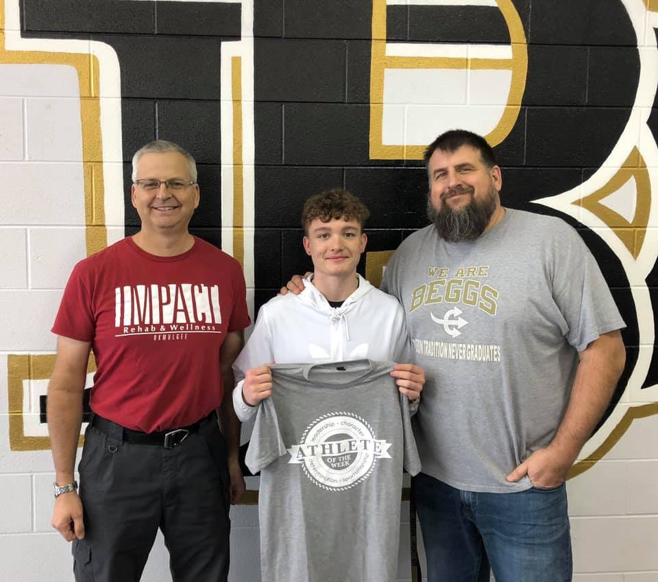 Athlete of the Week winner, Jameson Ross, pictured with Athletic Director Chad Stanton and Michael Siegenthaler.