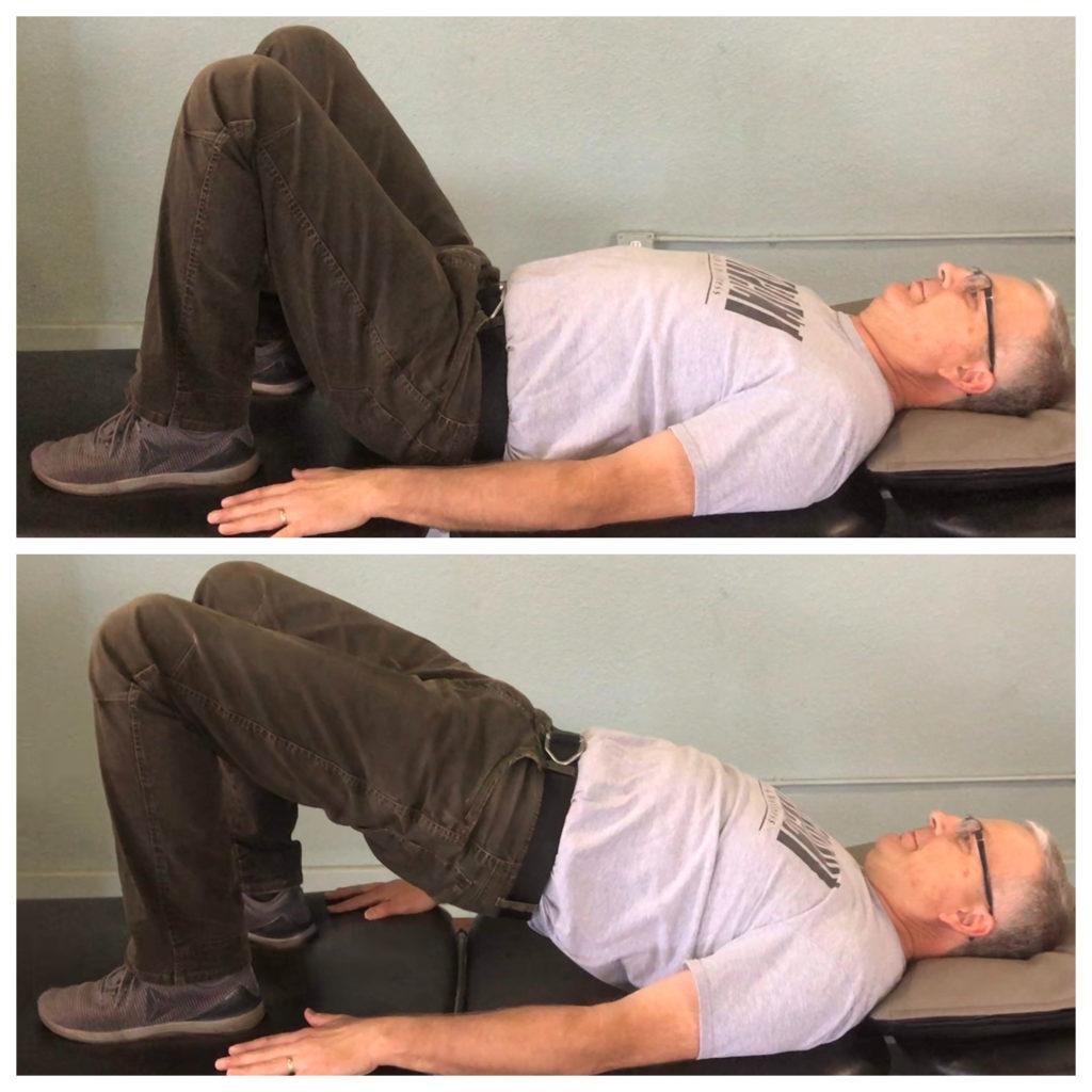 Michael demonstrating the bridge exercise to strengthen hips.