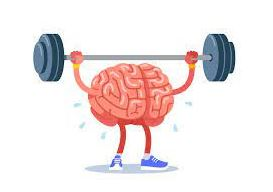 Picture of a brain lifting a heavy weight.